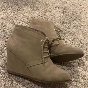 Tan/Nude Ankle Wedge Boots